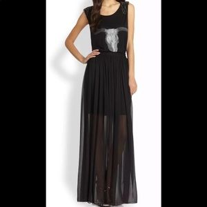 Alice + Olivia Women's Black Maxi Skirt Sheer